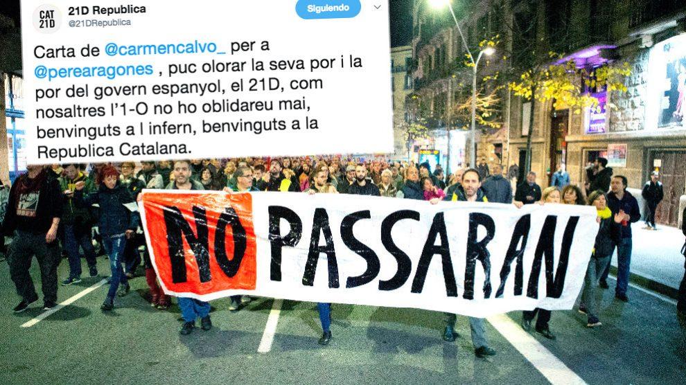 Una manifestación de los CDR convocada en Barcelona y uno de los tuits con el que responden a las cartas enviadas por Pedro Sánchez a Quim Torra