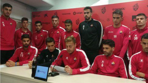 Los jugadores del Reus durante una rueda de prensa (Foto: @CanalReusEsport)