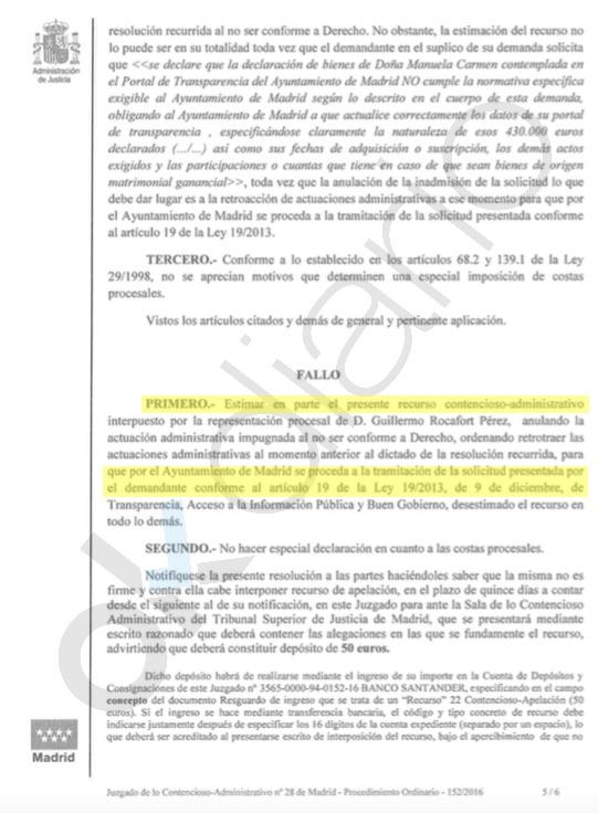 Carmena recurre una sentencia judicial que le obliga a informar sobre si tiene una Sicav