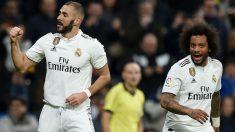 Benzema celebra el 1-0 en el Real Madrid-Rayo. (Getty)