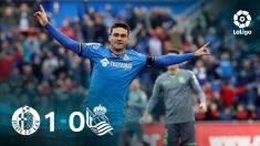 El Getafe venció a la Real Sociedad gracias a un gol de Jorge Molina.