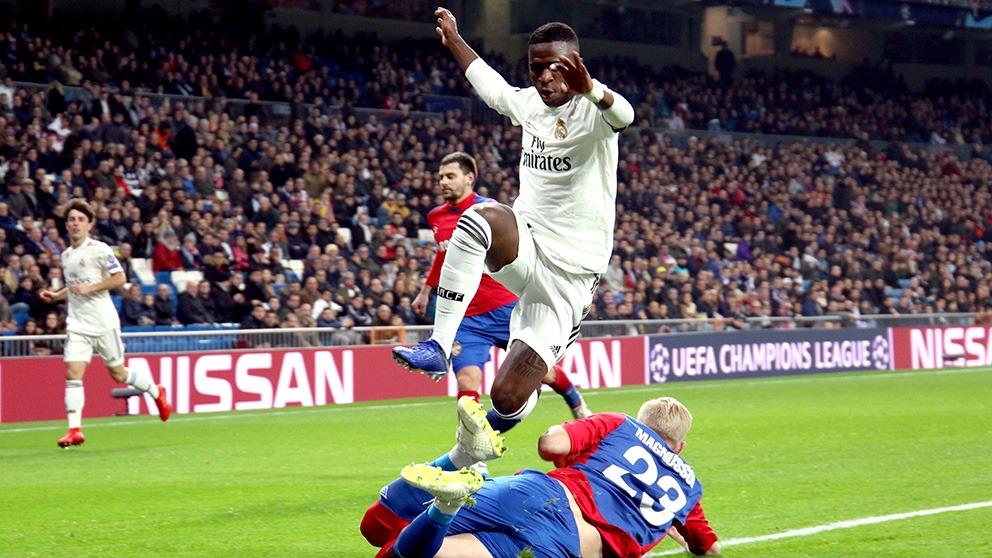 Vinicius, en el partido de Champions ante el CSKA. (Enrique Falcón)