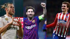 Gareth Bale, Leo Messi y Antoine Griezmann.