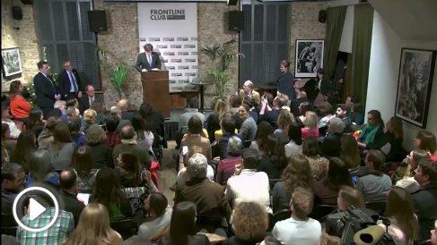 Carles Puigdemont en el Frontline Club de Londres.