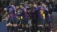 El Barça celebra el gol de Dembele ante el Tottenham (AFP).