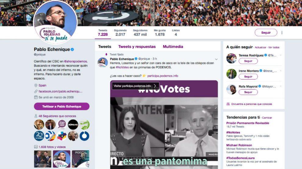 El secretario de Organización de Podemos, Pablo Echenique, vuelve a señalar a Eduardo Inda.