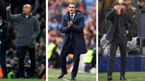 Guardiola, Valverde y Simeone, entrenadores del City, Barcelona y Atlético de Madrid, respectivamente