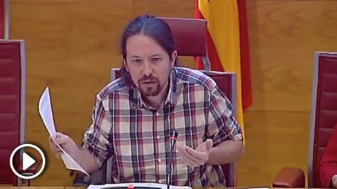 El secretario general de Podemos, Pablo Iglesias, en su comparecencia en el Senado en la Comisión sobre la financiación de los partidos políticos