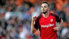 Sarabia celebra un gol al Valencia. (EFE)