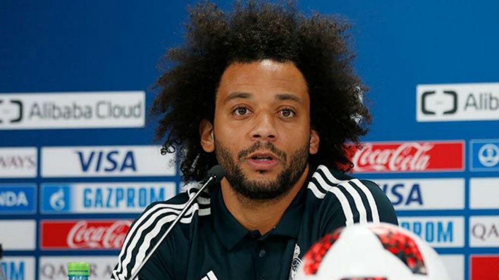 Marcelo durante la rueda de prensa en el Mundial de Clubes. (realmadrid.com)
