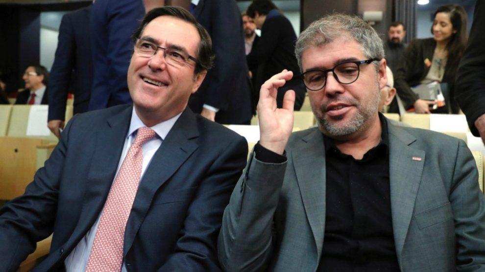Unai Sordo CCOO y Antonio Garamendi CEOE. Foto: EFE