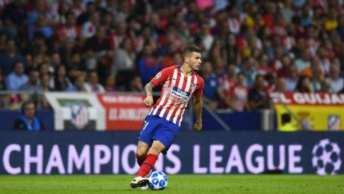 Lucas Hernández, en un partido con el Atlético de Madrid. (AFP)