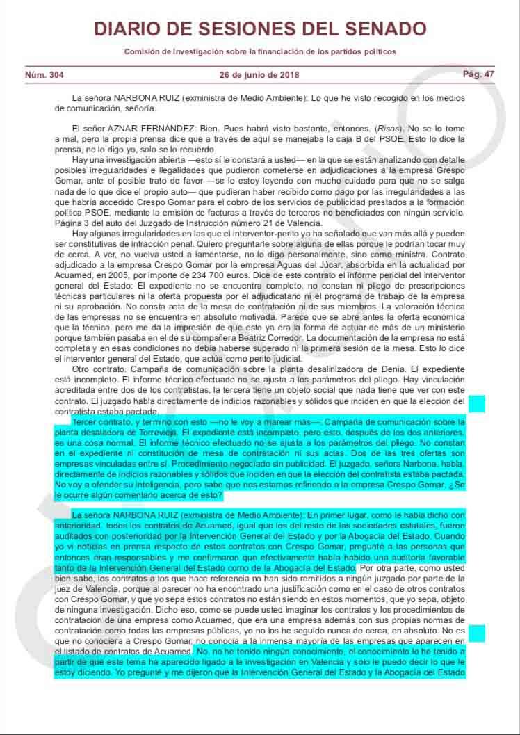 Narbona mintió en el Senado: el interventor no avaló los contratos de Acuamed, la Gürtel del PSOE