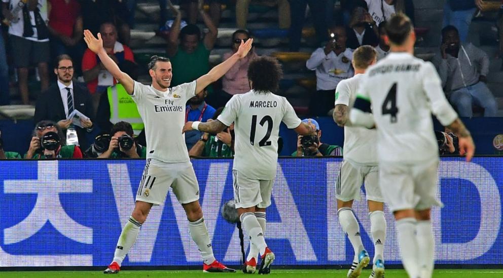 Bale celebra un gol en el Kashima – Real Madrid