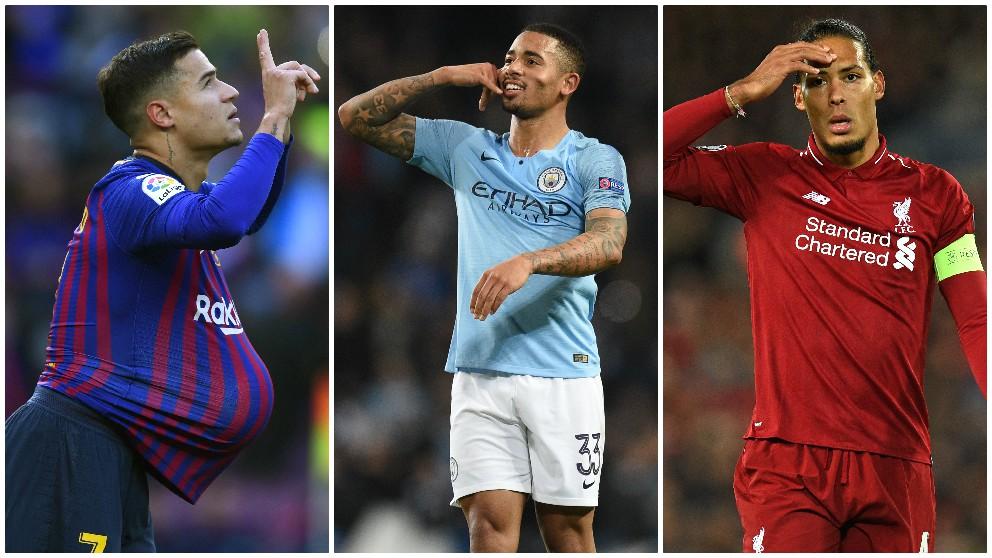 Coutinho, Gabriel Jesús y Van  Dijk fueron fichajes de invierno. (AFP)