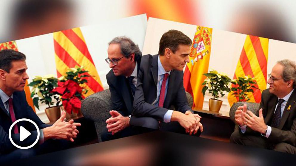 Guerra de flores en la cumbre entre Pedro Sánchez y Quim Torra.