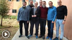 Sánchez, Junqueras, Turull, Forn, Cuixart, Rull y Romeva en la prisión de Lledoners (Foto: Prensa Òmnium).