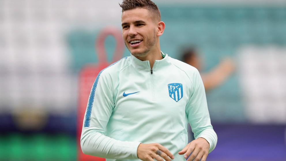 Lucas Hernández durante un entrenamiento con el Atlético de Madrid. (Getty)