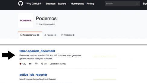 Pantallazo de la web de desarrollos de Podemos.