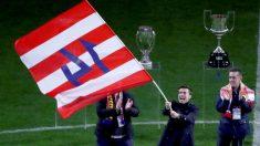 Gabi, en el homenaje que le hizo el Atlético de Madrid. (EFE)