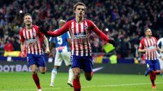 Antoine Griezmann celebra su gol en el Atlético – Espanyol. (EFE)
