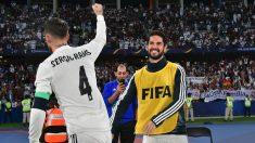 Isco, celebrando el gol de Sergio Ramos (AFP).
