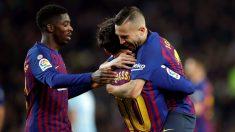Jordi Alba, Dembélé y Messi celebran un gol del Barcelona