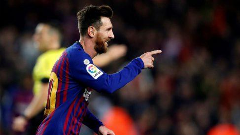 Messi celebra un gol con el Barcelona. (AFP)