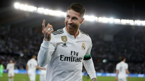Sergio Ramos celebra su gol en la final del Mundial de Clubes 2018. (Getty)