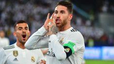 Sergio Ramos celebra su gol en la final del Mundial de Clubes 2018. (AFP)