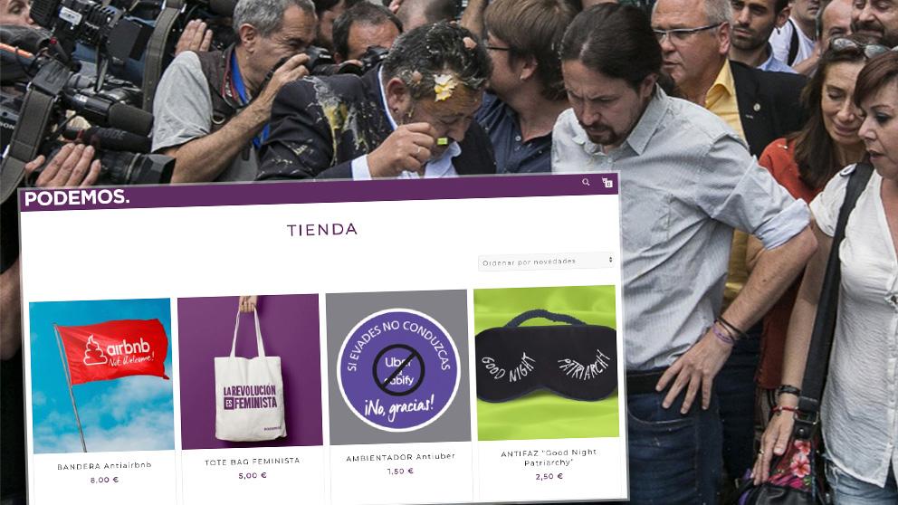Merchandising de Podemos con Uber, Cabify y Airbnb