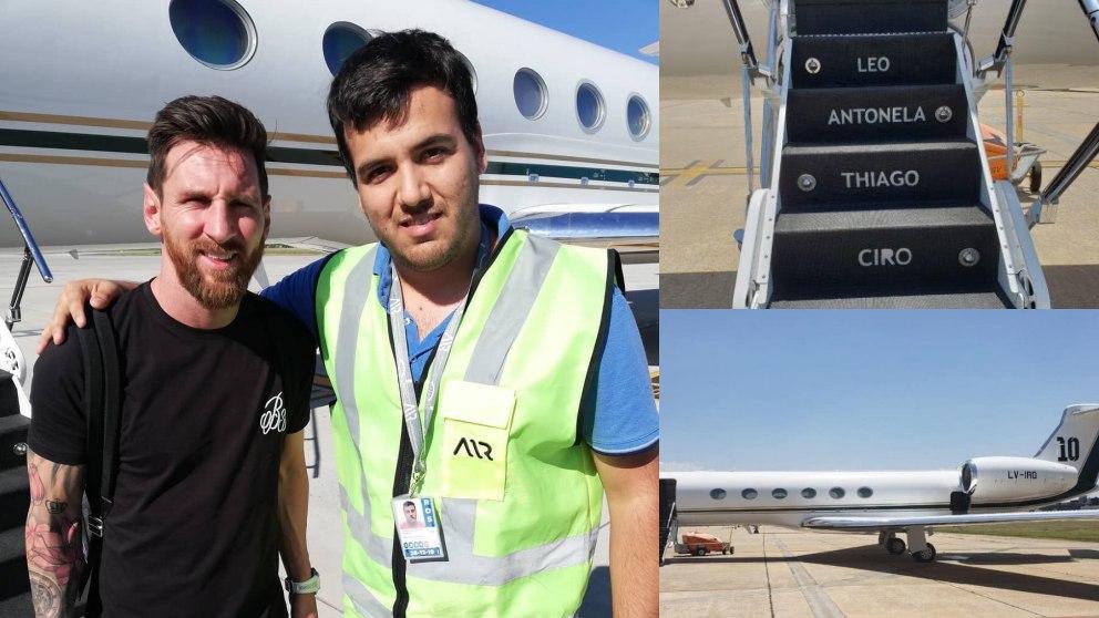Messi, de vacaciones en Argentina con su avión privado.