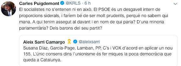 Puigdemont estalla contra el PSOE: