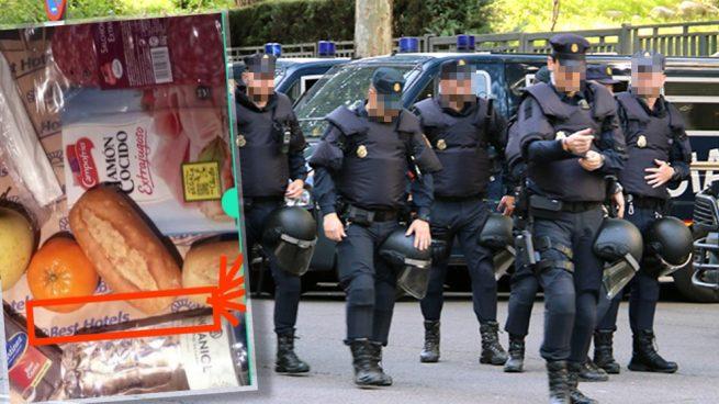 Pan, jamón cocido y fruta: el menú de Navidad de los policías antidisturbios