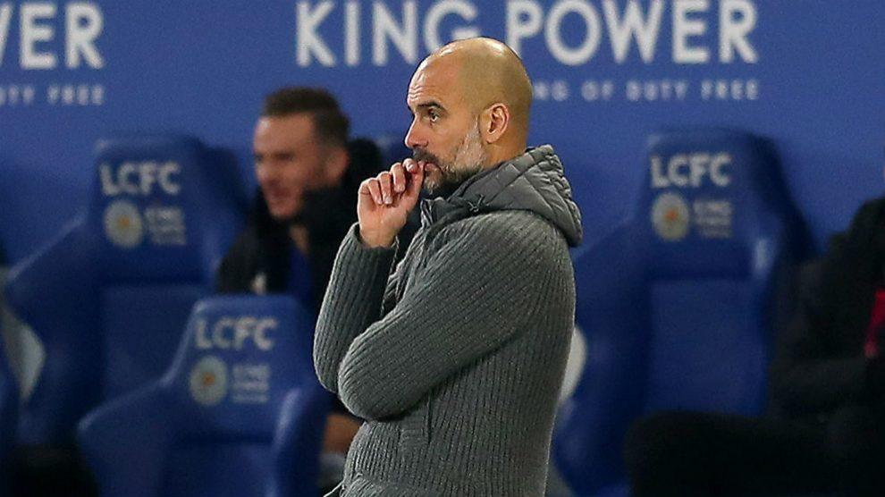Pep Guardiola durante el Leicester – Manchester City. (Getty)
