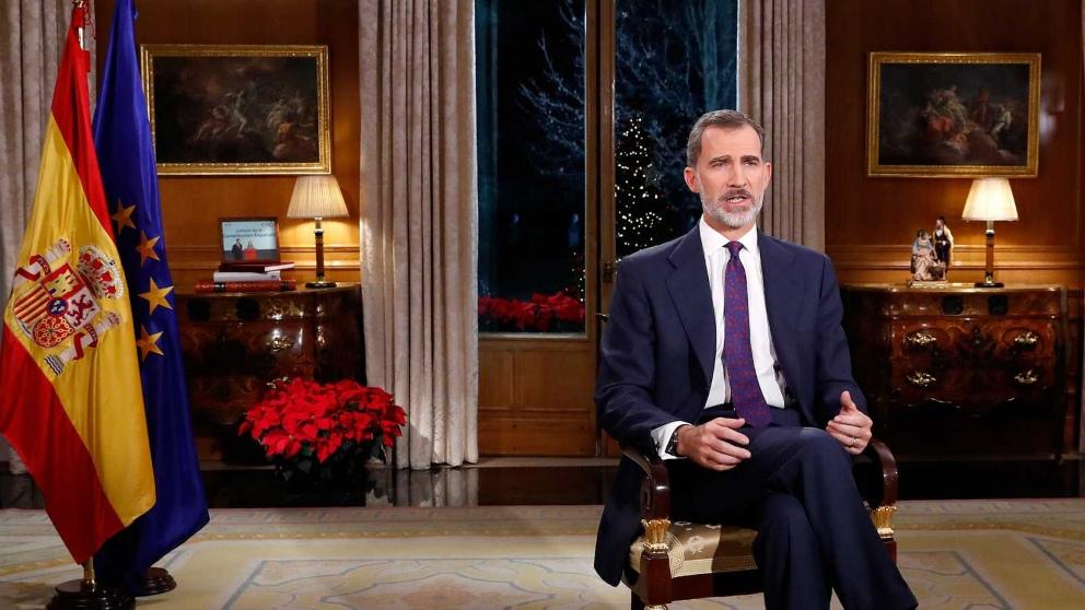 Felipe VI durante su mensaje de Navidad 2018