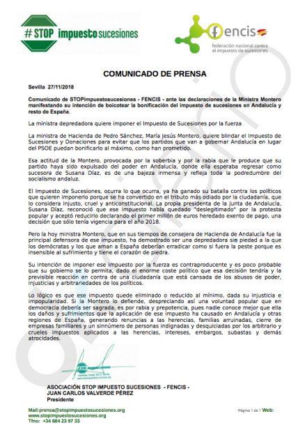 """Stop Impuesto de Sucesiones y Fencis acusan a Montero de """"depredadora"""" por querer blindar el tributo"""