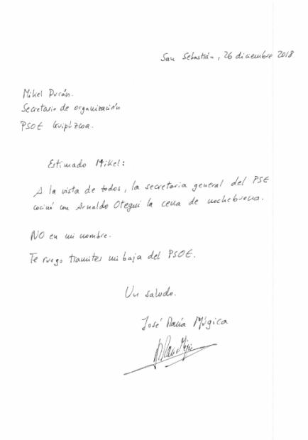 La carta de José María Múgica a Mikel Durán publicada por La Información.
