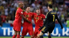 Los jugadores de Bélgica celebran su victoria contra Brasil en el Mundial de Rusia 2018. (Getty)