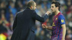 Cesc y Guardiola durante la etapa de ambos en el Barcelona. (AFP)