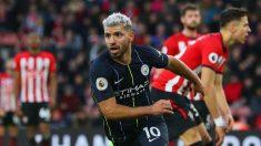 Agüero cerró al victoria del City frente al Southampton (Getty).