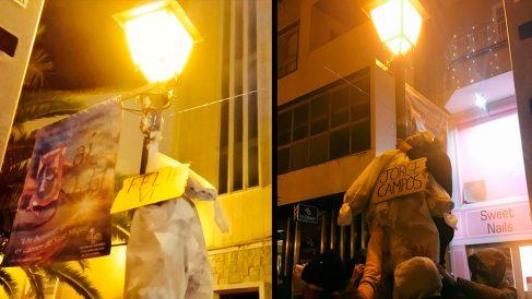 Los 'cachorros' de la CUP cuelgan sendos muñecos simulando el ahorcamiento del Rey y de Jorge Campos.