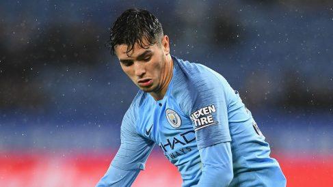 Brahim, durante un partido del Manchester City (Getty).