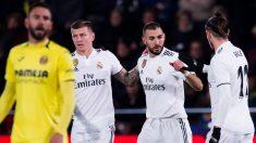 Benzema celebra su gol ante el Villarreal con Bale y Kroos (Getty).