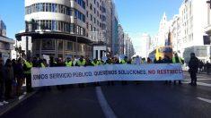 Cabecera de la manifestación contra Madrid Centra. (Foto. EP)