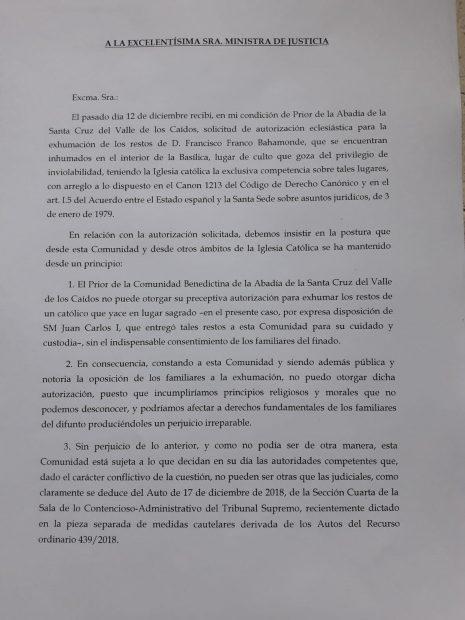 Carta del prior a Dolores Delgado.