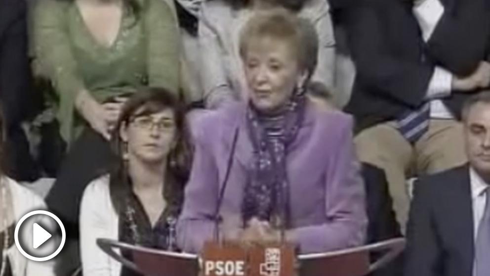 María Teresa Fernández de la Vega durante un mitin del PSOE en 2007 en Mérida: «En el 2010 habrá AVE en Extremadura»