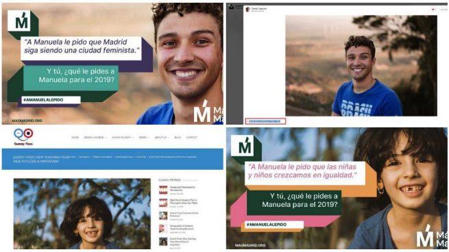 Una campaña para ensalzar a Carmena convierte en madrileños a extranjeros con fotos robadas de Internet