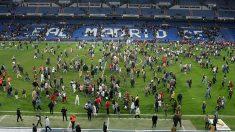 La afición del Real Madrid en el partido suspendido ante la Real Sociedad por ETA