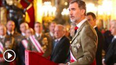 Felipe VI pronunciando su discurso este domingo en la Pascual Militar. (Foto: Casa del Rey)